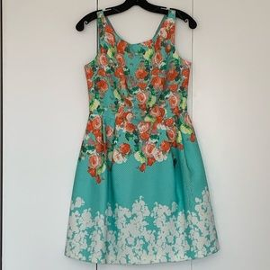 Turquoise flower cocktail dress